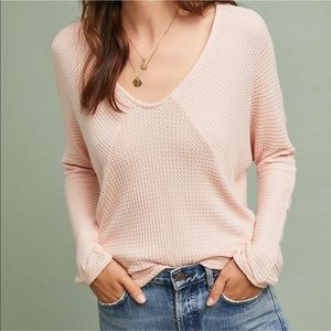Anthropologie pure + good pink waffle knit top
